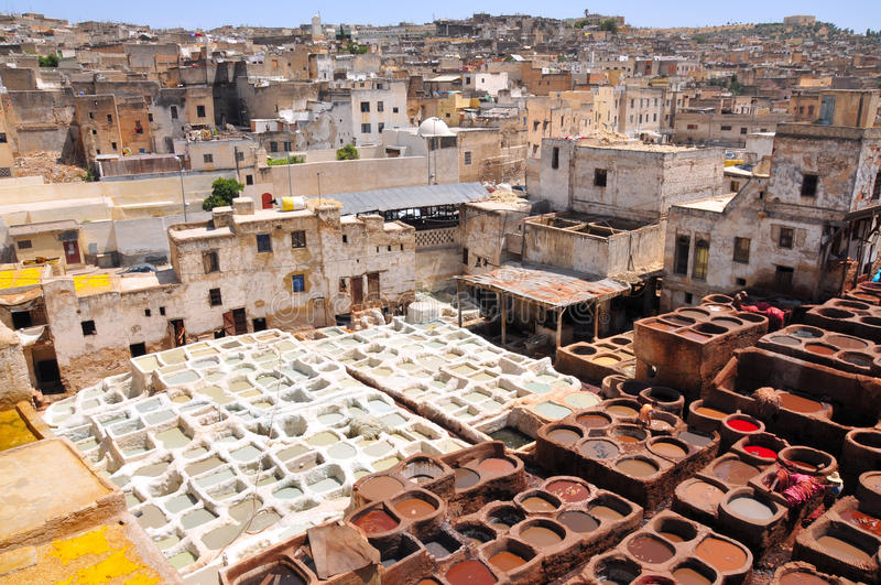 Tanning de couro em Fez - Marrocos foto de stock