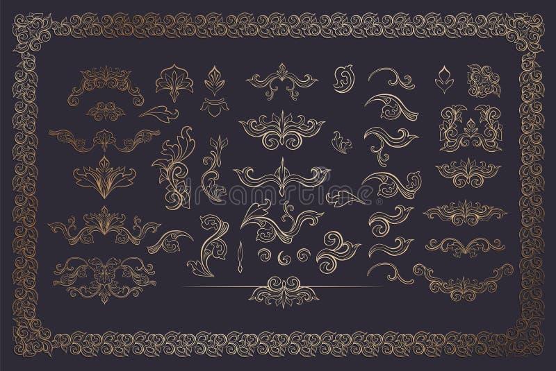 Tanoeiro Color Flourishes Collection no fundo escuro ilustração do vetor