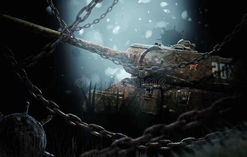 Tanque afundado perto das minas imagem de stock