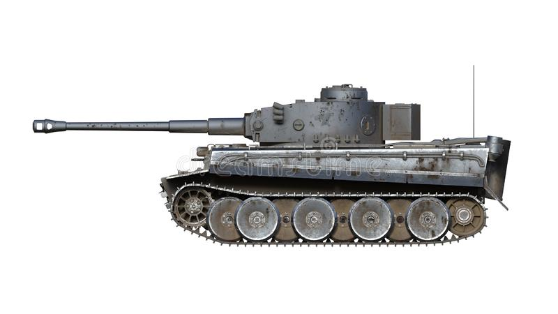 Tanque de exército velho, veículo militar blindado do vintage com arma e torreta isolada no fundo branco, vista lateral, 3D para  ilustração do vetor