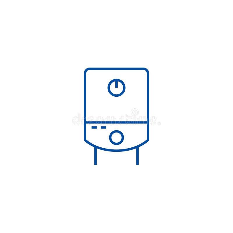Tanque de gás, linha conceito da caldeira de água do ícone Tanque de gás, símbolo liso do vetor da caldeira de água, sinal, ilust ilustração royalty free