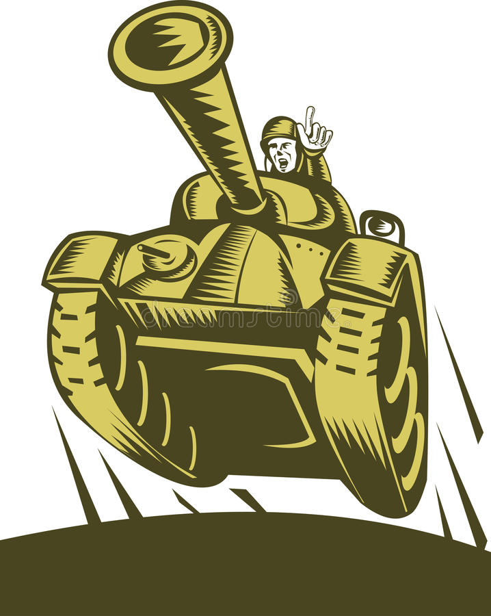 Tanque de guerra da segunda guerra mundial ilustração stock