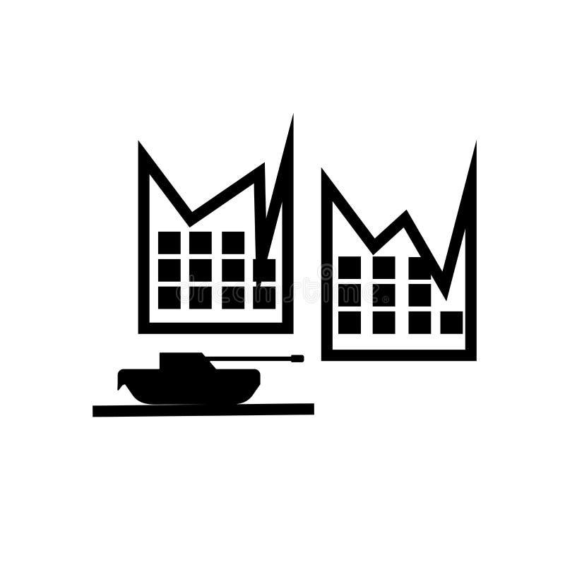 Tanque de Militar no sinal e no símbolo do vetor do ícone da rua da cidade isolado no fundo branco, tanque de Militar no conceito ilustração do vetor