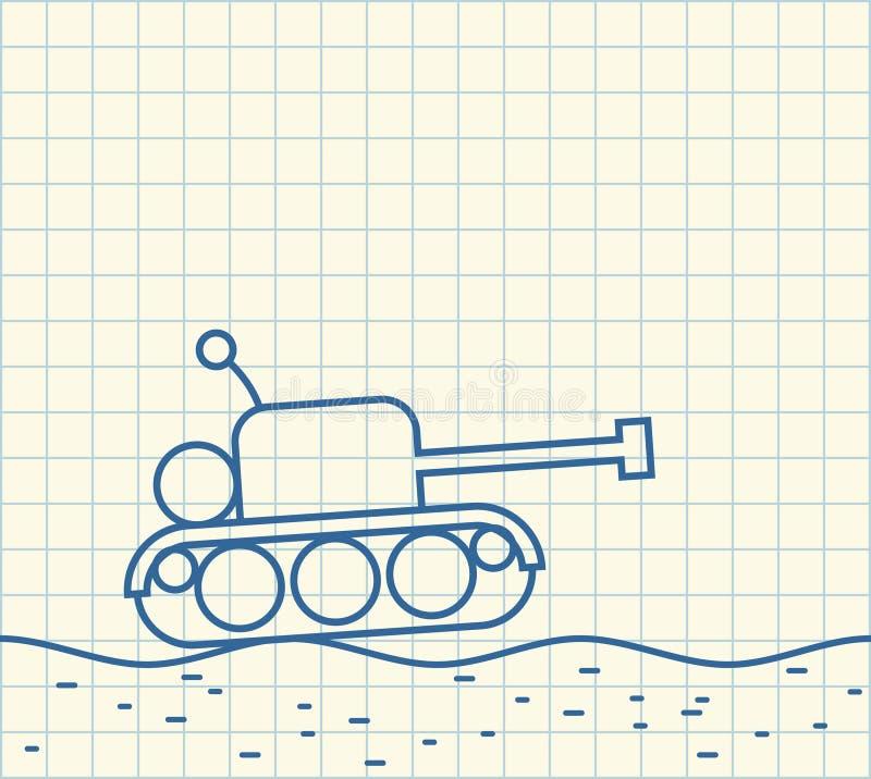 Tanque do esboço desenho da máquina militar Ilustração do vetor ilustração royalty free
