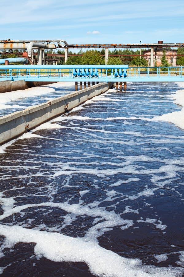 Tanque do tratamento da água com wastewater imagem de stock royalty free