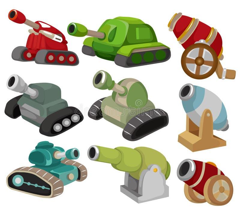 Tanque dos desenhos animados/ícone ajustado arma do canhão ilustração royalty free