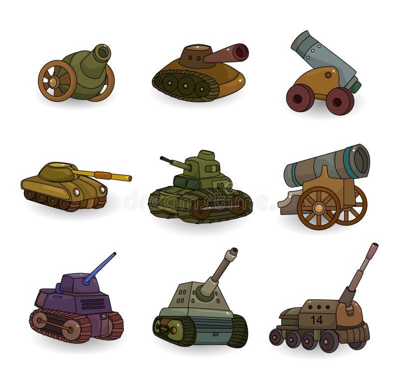 Tanque dos desenhos animados/ícone ajustado arma do canhão ilustração do vetor