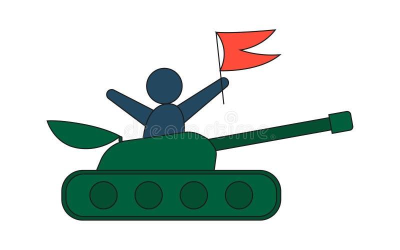 Tanque dos desenhos animados em um estilo liso Homem com bandeira vermelha ilustração stock