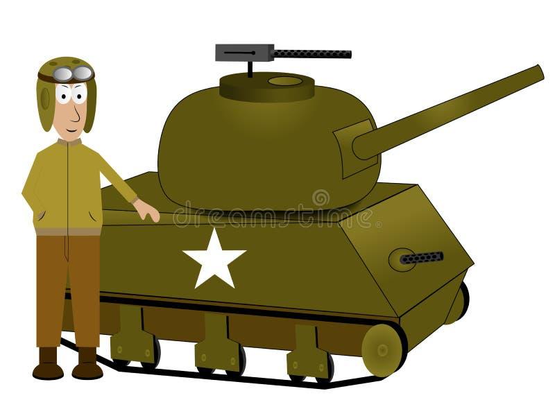 Tanque e motorista ilustração stock