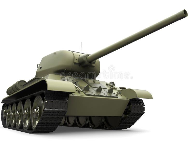 Tanque pesado militar do verde azeitona velho - tiro do close up do baixo ângulo ilustração do vetor