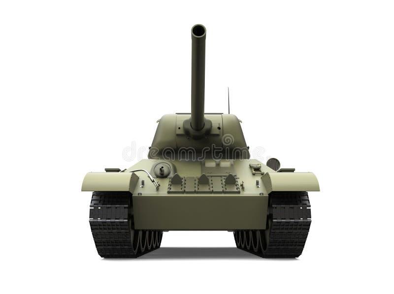 Tanque pesado militar do verde azeitona velho - vista dianteira ilustração do vetor