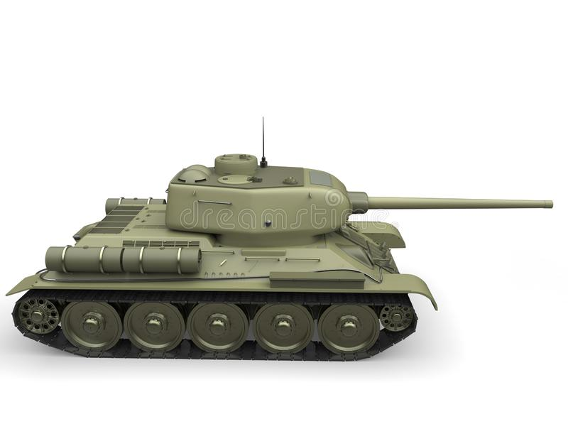 Tanque pesado militar do verde azeitona velho - vista lateral ilustração stock