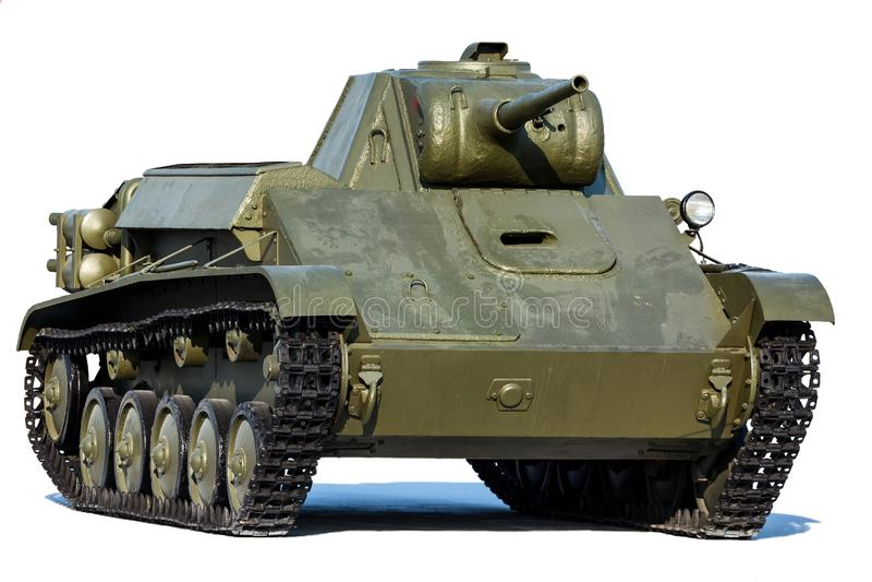 Tanque soviético velho T-70, isolado no branco fotos de stock royalty free
