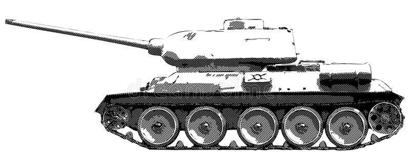 Tanque T 34 do russo - desenho do vetor ilustração stock