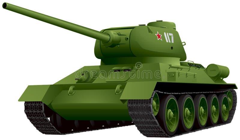 Tanque T-34 na ilustração do vetor da perspectiva ilustração stock