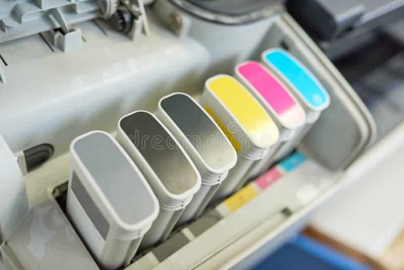 Tanques da tinta de impressora fotografia de stock
