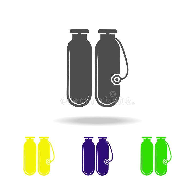 tanques de oxigênio para ícones coloridos de mergulho O elemento de ícones coloridos dos feriados da praia pode ser usado para a  ilustração do vetor