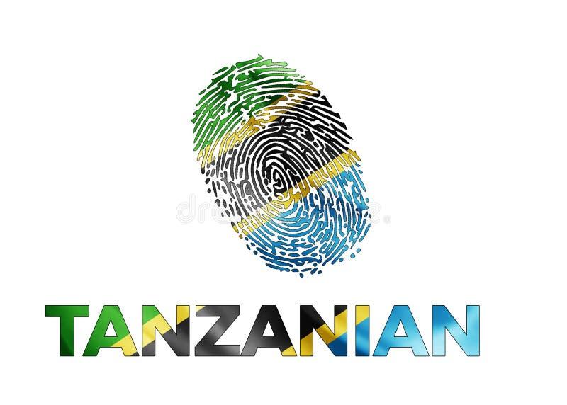 Tansanischer Fingerabdruck mit einer Flagge lizenzfreie stockbilder