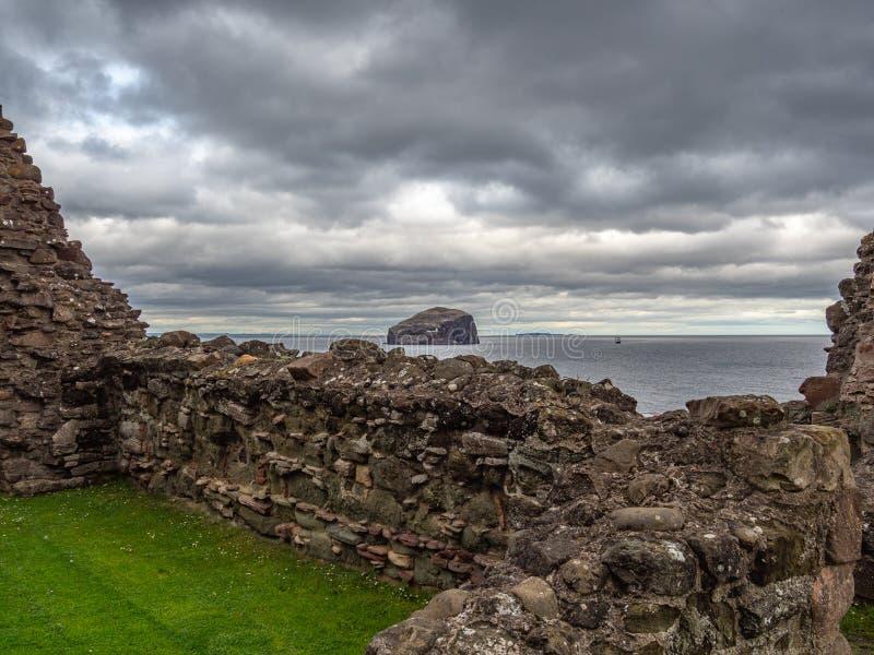 Tantallon城堡,14世纪中叶苏格兰城堡,北部贝里克 图库摄影