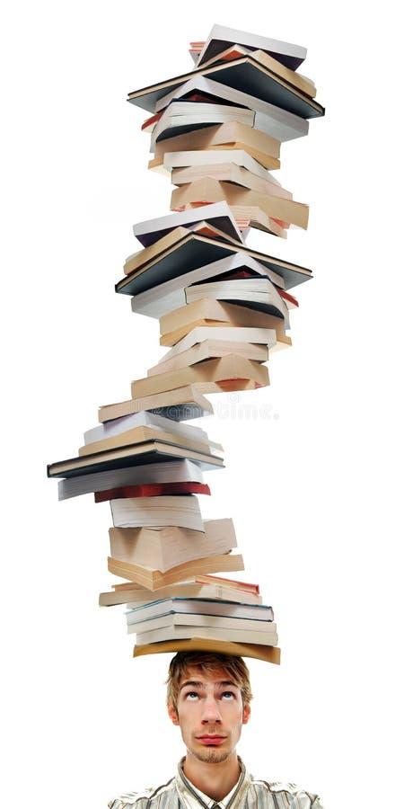 Tanti libri, così poco tempo. immagine stock