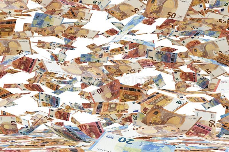 Tantissime euro banconote che cadono gi?, sul fondo bianco illustrazione vettoriale