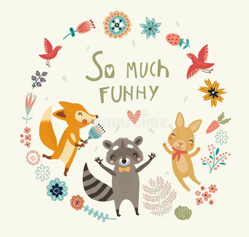 Tanto engraçado! Fundo bonito com animal ilustração do vetor
