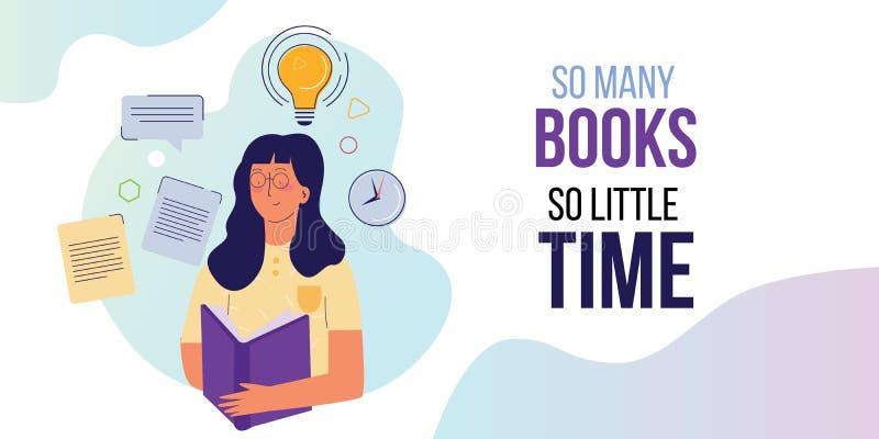 Tantos libros tan poco tiempo. chica con el libro grande en las manos. Inspiración para leer citas libre illustration