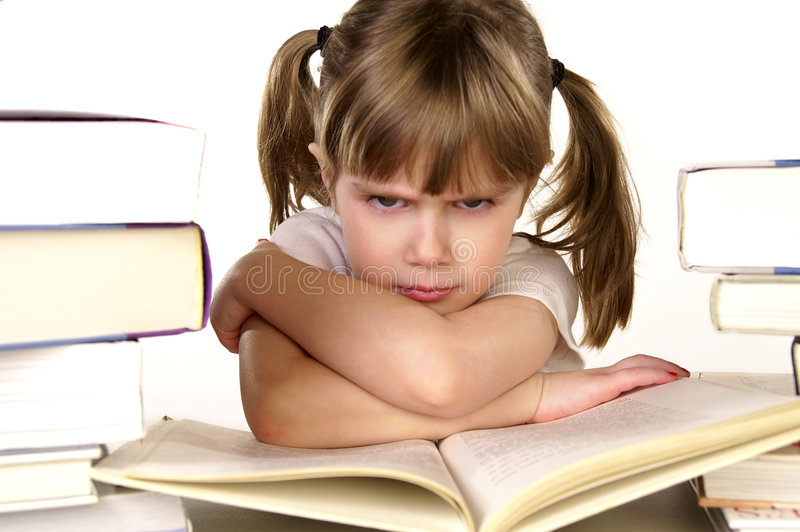 Tantrum. A young girl upset about studying