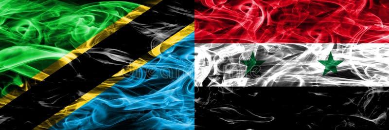 Tanzânia contra Síria, bandeiras sírias do fumo colocadas de lado a lado Bandeiras de seda coloridas grossas do fumo do tanzanian foto de stock