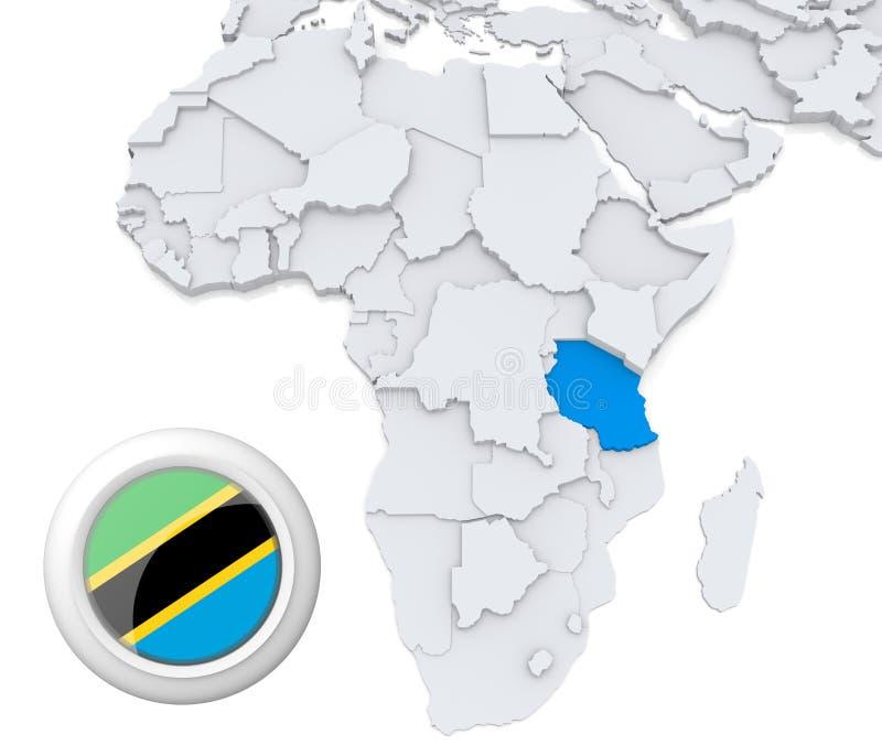 Tanzânia no mapa de África ilustração stock