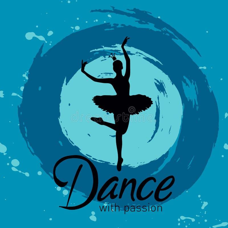 Tanz mit Leidenschaftskarte mit Ballerina vektor abbildung