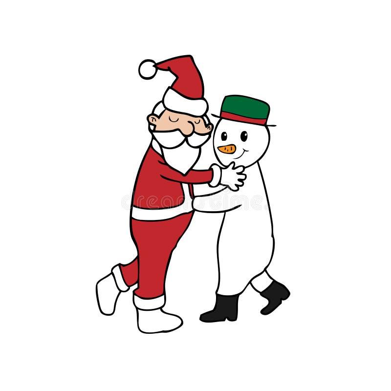 Tanz-Weihnachten Sankt und Schneemann lizenzfreie abbildung