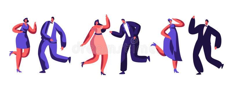 Tanzabend-Feier kleidete-oben erwachsene Leute lizenzfreie abbildung