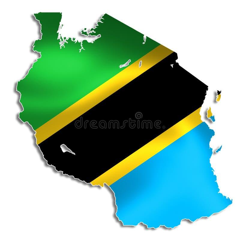 Tanzania översikt med flaggan royaltyfri illustrationer
