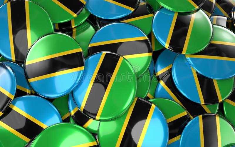 Download Tanzania Badges Background - Pile Of Tanzania Flag Buttons. Stock Illustration - Illustration: 92615482