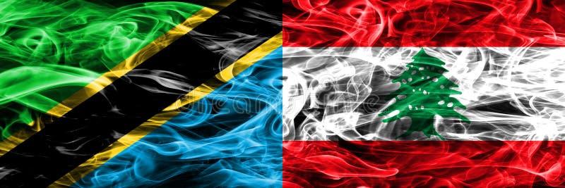 Tanzania contra Líbano, banderas libanesas del humo colocadas de lado a lado Banderas sedosas coloreadas gruesas del humo del tan libre illustration