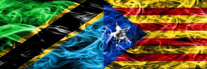 Tanzania contra las banderas del humo de Cataluña, España colocó de lado a lado Banderas sedosas coloreadas gruesas del humo del  ilustración del vector
