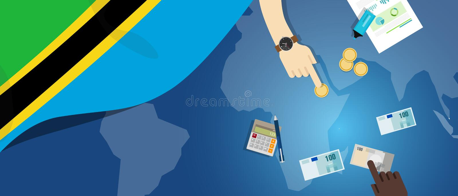 Tanzania economy fiscal money trade concept illustration of financial banking budget with flag map and currency. Vector stock illustration
