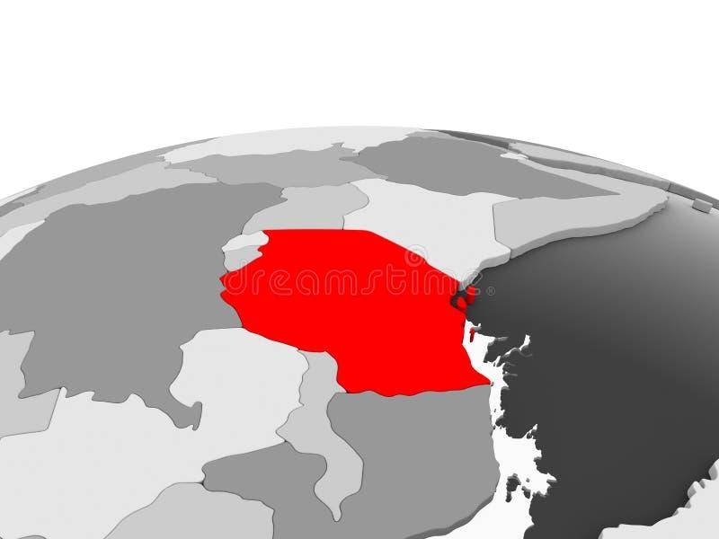 Tanzania en el globo gris libre illustration