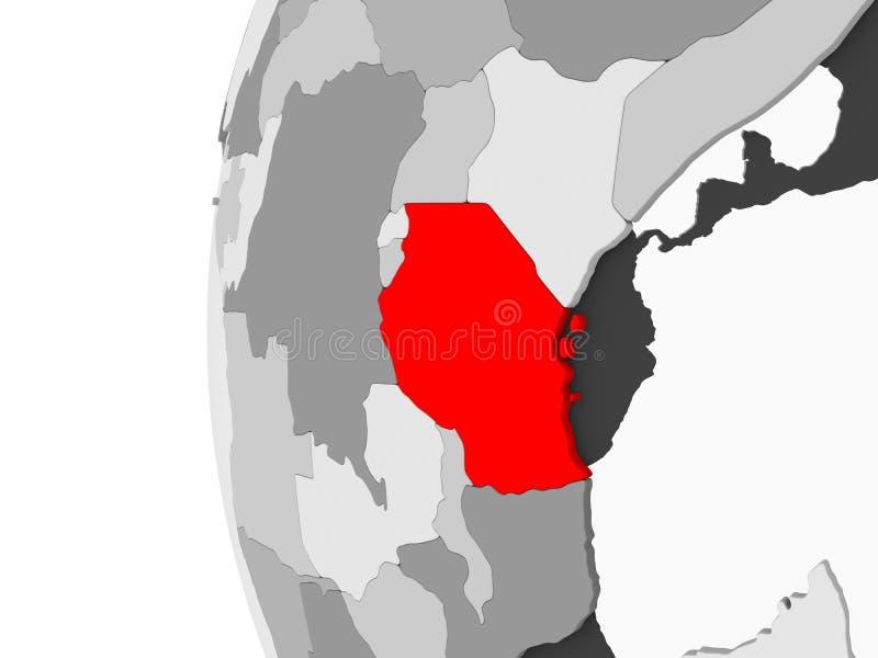 Tanzania en el globo gris ilustración del vector