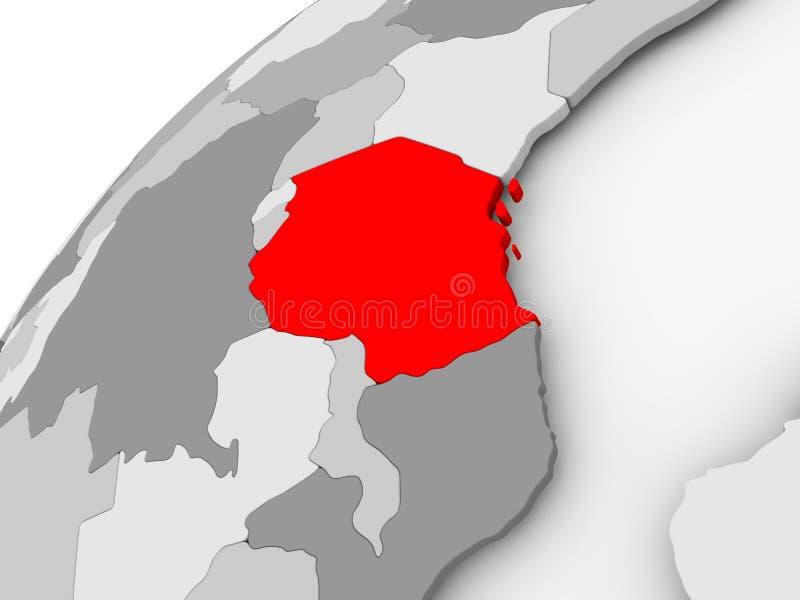 Tanzania en el globo político gris ilustración del vector