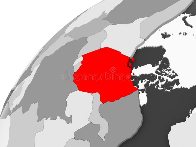 Tanzania en el globo político gris libre illustration