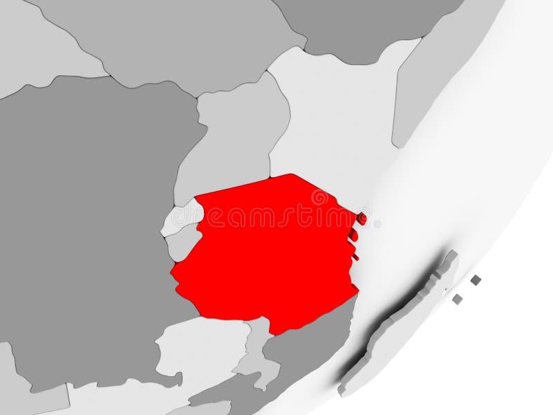 Tanzania en rojo en mapa gris stock de ilustración