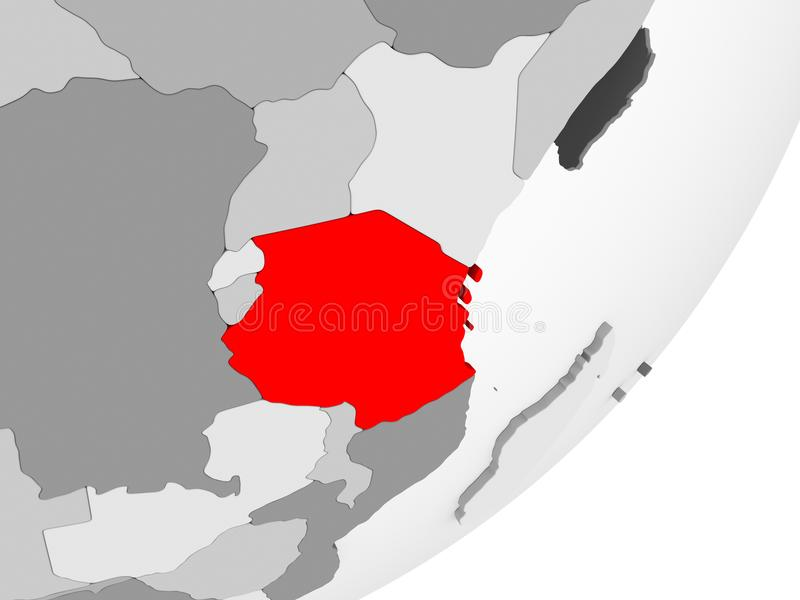 Tanzania en rojo en mapa gris libre illustration