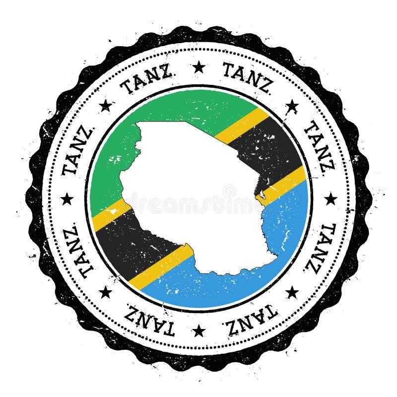 Tanzania enig republik av översikten och flaggan in royaltyfri illustrationer