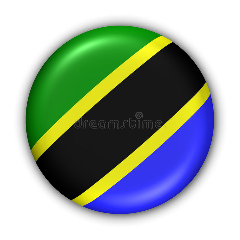 Tanzania Flag. World Flag Button Series - Africa - Tanzania (With Clipping Path stock illustration