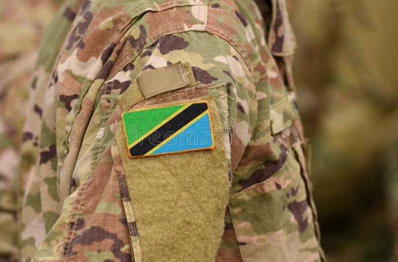 Tanzania flagga på soldatarmen Förenade republiken Tanzania soldat royaltyfri foto