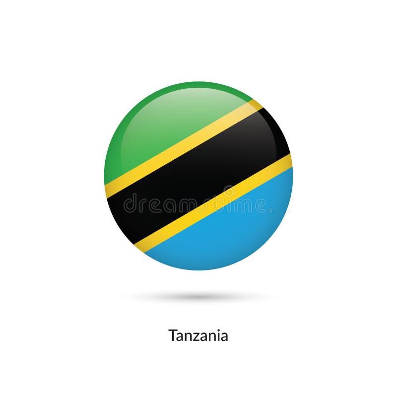 Tanzania flagga - rund glansig knapp stock illustrationer