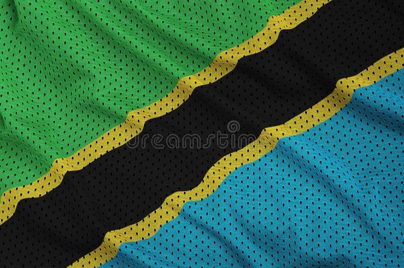 Tanzania flagga som skrivs ut på en fabri för ingrepp för polyesternylonsportswear arkivbild