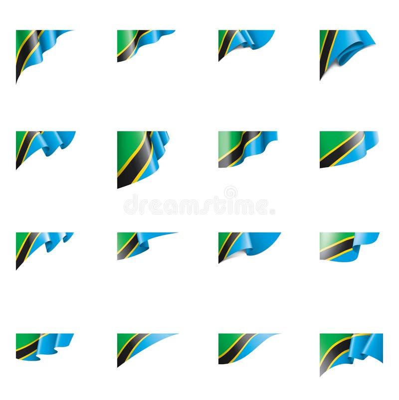 Tanzania flagga, vektorillustration på en vit bakgrund royaltyfri illustrationer